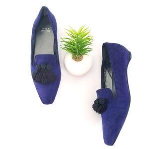 Stuart Weitzman Tasstrio Tassel Loafers Blue Suede